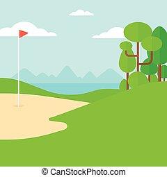 field., golf, fond