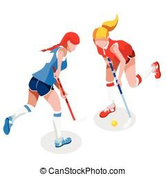 Field Hockey 2016 Sports 3D Isometric Vector Illustration