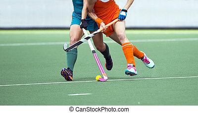 Field hockey match - Two field hockey player, fighting for...