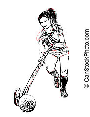 Field hockey player illustration