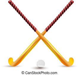 Field hockey. Sports supplies for playing on a white background. Hockey stick and ball. Crossed sticks for hockey. Sports competition on the grass. Vector illustration