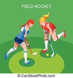 Field Hockey Summer Games 3D Isometric Vector Illustration