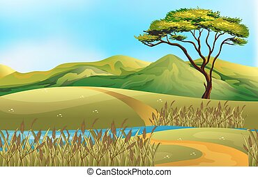 Illustration of a field with river run through
