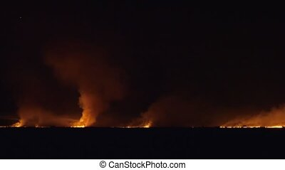Field Is On Fire At Night