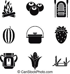 Field kitchen icons set, simple style