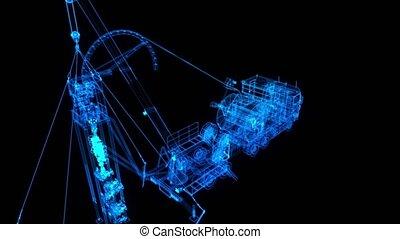 field., model., virtuel, technologie, numérique, réparation camion, huile, équipement, essence, machine, solide, 3d, visualisation