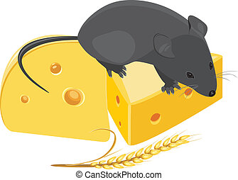 Field mouse, wheat ear and cheese - Field mouse, wheat ear...