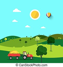 Field. Nature Cartoon with Trees and Tractor. Sunny Day. Rural Scene.