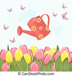 field of blooming tulips with a red can watering for your design