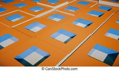 Field of bright orange cubes