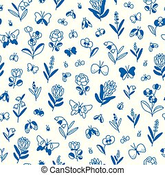 Field of butterflies, seamless pattern