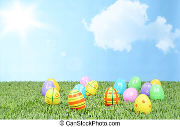 field of colorful easter eggs
