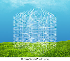 Field of green grass and blue sky with wireframe building.