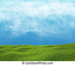 Field of green grass and sky with clouds.