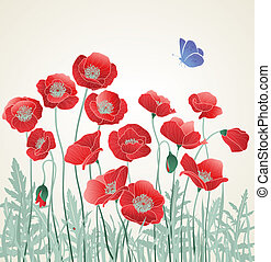 Field of Red Poppies with Butterfly