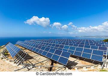 Field of solar panels or collectors at sea