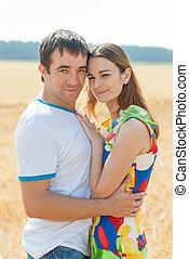 field., par, amantes, embrace macia