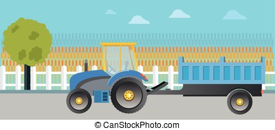 Field planting and harvesting. - Tractor and farm...