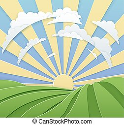 Field Rolling Hills Sunrise Sky Paper Craft Style