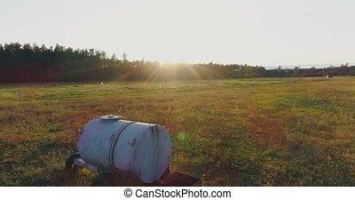 Field sunset drone flight, agriculture farm, farming, aerial...