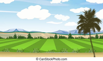 Field Trip animation pan - driving by countryside, field and...