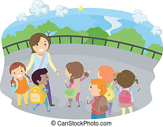Field Trip Kids - Illustration of a Teacher and Kids Out on...