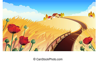 field - Vector illustrations - Landscape with wheat and ...