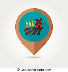 Field with a mill and wheat flat mapping pin icon