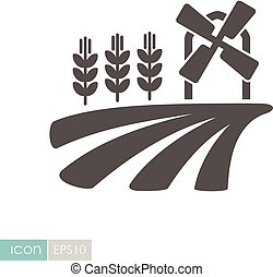 Field with a windmill and ears of wheat icon