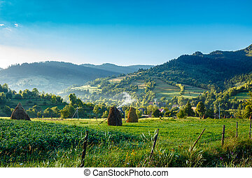 field with haystack on hillside in mountains