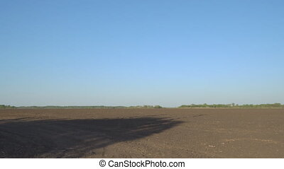 Field with plowed land. Arable