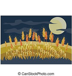 field with wheat at night, a round moon is shining on a dark sky, cartoon illustration, vector,