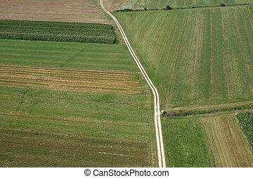 fields., イメージ, 航空写真, 牧草地