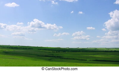 fields and sky. time lapse