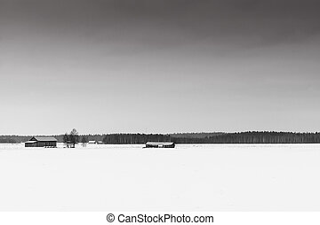 The emptiness of the landscape is emphasized in this typical shot of the Finnish countryside.