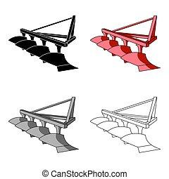fields., estilo, estoque, símbolo, trator, arar, maquinaria metal, ícone, vetorial, vermelho, anexo, caricatura, único, illustration., agrícola