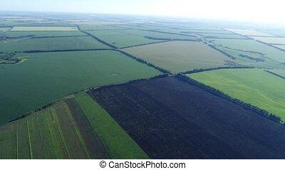 fields in Russia taken from very great height - fields in...