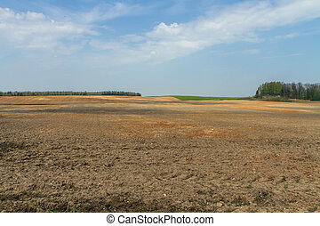 fields in the village - Lithuania spring plowing fields, ...