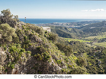 Fields of Casares with sea