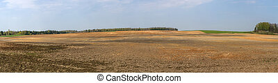fields panorama - Lithuania spring plowing fields, prepared ...