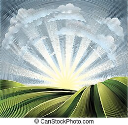 Fields Rolling Hills and Sun Engraved Etching - Rolling...