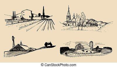 fields., ruski, krajobrazy, set., szkice, wektor, zagroda, countryside., willa, ilustracje, ręka, pociągnięty, wieś, gospodarstwo rolny