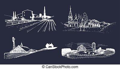 fields., russische, landschaften, set., skizzen, vektor, bauernhof, countryside., landhaus, illustrationen, hand, gezeichnet, dorf, heimstätte
