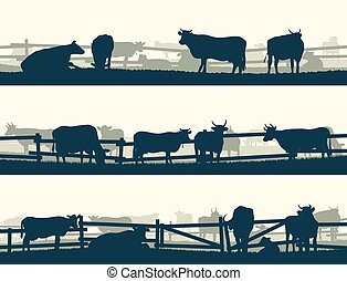 Fields with fence and farm animals. - Horizontal vector...