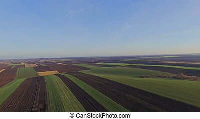 Fields with various types of agriculture, aerial shot