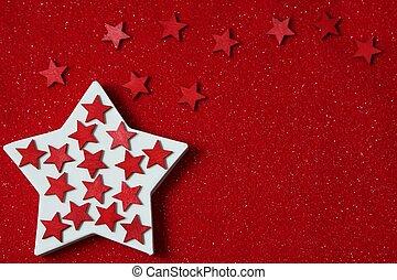fieltro, estrellas, fondo rojo