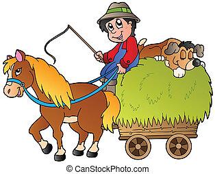 fieno, cartone animato, carrello, contadino