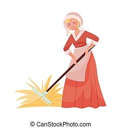 fieno, contadino, rastrello, vettore, medievale, portante, giovane, femmina, illustrazione