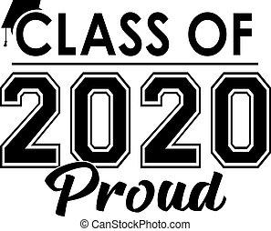 fier, classe, bannière, 2020