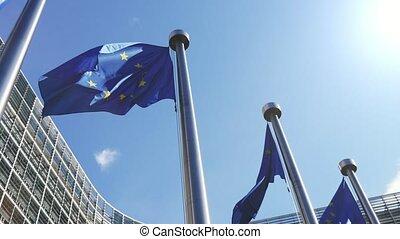 fier, slo-mo, voler, ensoleillé, commission, drapeaux, eu, jour, européen